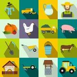 Icone piane dell'azienda agricola messe illustrazione di stock