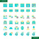 Icone piane dell'interfaccia e del browser messe illustrazione di stock