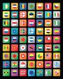Icone piane della bandiera del mondo Fotografie Stock Libere da Diritti