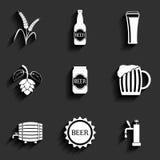 Icone piane della birra Immagine Stock Libera da Diritti