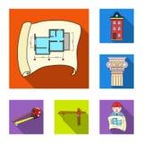 Icone piane della costruzione e di architettura nella raccolta dell'insieme per progettazione Web delle azione di simbolo di vett Fotografia Stock Libera da Diritti