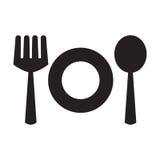 Icone piane della forchetta, del cucchiaio e del piatto Immagini Stock