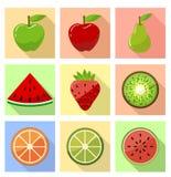 Icone piane della frutta Fotografia Stock Libera da Diritti