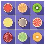 Icone piane della frutta con ombra Fotografie Stock Libere da Diritti