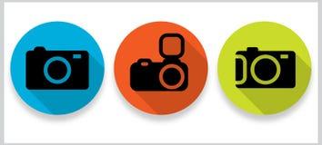 Icone piane della galleria di foto con le ombre lunghe Fotografie Stock Libere da Diritti