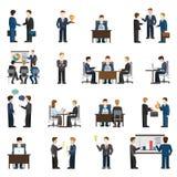 Icone piane della gente degli uomini d'affari di vettore: posto di lavoro dell'ufficio di affari Immagine Stock