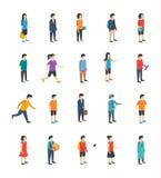 Icone piane della gente isometrica illustrazione di stock