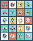 Icone piane della gestione di progetti illustrazione di stock