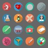 Icone piane della medicina messe Fotografie Stock