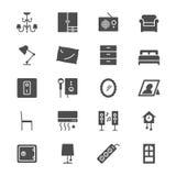 Icone piane della mobilia domestica Fotografia Stock Libera da Diritti