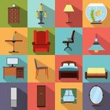 Icone piane della mobilia messe Immagine Stock Libera da Diritti