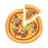 Icone piane della pizza su fondo bianco Immagini Stock Libere da Diritti
