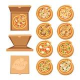 Icone piane della pizza su fondo bianco Fotografie Stock