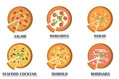 Icone piane della pizza su fondo bianco Fotografie Stock Libere da Diritti