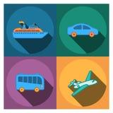 4 icone piane della società di viaggio Immagine Stock Libera da Diritti