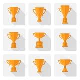 Icone piane della tazza del trofeo di vettore messe Fotografia Stock Libera da Diritti