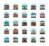 Icone piane delle costruzioni commerciali illustrazione di stock