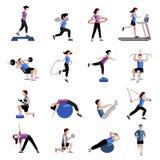 Icone piane delle donne degli uomini di forma fisica messe Fotografie Stock
