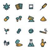 Icone piane delle droghe di vettore messe royalty illustrazione gratis