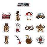 Icone piane delle Hawai messe Immagine Stock