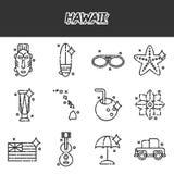 Icone piane delle Hawai messe Immagine Stock Libera da Diritti