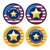 Icone piane delle medaglie di giornata dei veterani Fotografie Stock