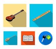 Icone piane dello strumento musicale nella raccolta dell'insieme per progettazione Il simbolo isometrico di vettore dello strumen royalty illustrazione gratis