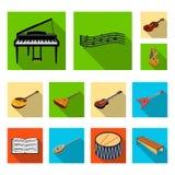 Icone piane dello strumento musicale nella raccolta dell'insieme per progettazione Il simbolo isometrico di vettore dello strumen illustrazione vettoriale