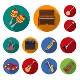 Icone piane dello strumento musicale nella raccolta dell'insieme per progettazione Lo strumento di vento e della corda vector il  illustrazione vettoriale