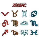 Icone piane dello zodiaco messe Immagine Stock Libera da Diritti