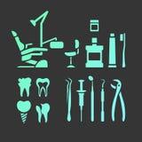 Icone piane dentarie Fotografie Stock Libere da Diritti