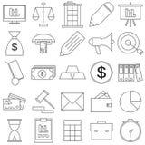 Icone piane di affari messe Immagini Stock