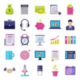 Icone piane di affari messe Fotografia Stock