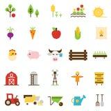 Icone piane di agricoltura e di azienda agricola Fotografie Stock