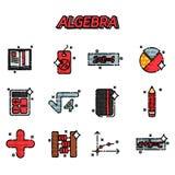 Icone piane di algebra messe illustrazione di stock