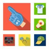 Icone piane di attributi e smazzi nella raccolta dell'insieme per progettazione Illustrazione di web delle azione di simbolo di v Fotografie Stock