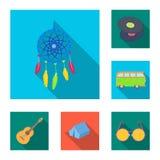 Icone piane di attributo e felici nella raccolta dell'insieme per progettazione Felice ed accessori vector l'illustrazione di ris royalty illustrazione gratis