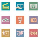 Icone piane di colore d'annata della foto e del video Illustrazione di Stock