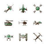 Icone piane di colore dei robot senza equipaggio Immagine Stock