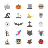 Icone piane di colore del partito di Halloween Fotografie Stock Libere da Diritti