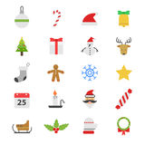 Icone piane di colore della festa di Natale Immagini Stock Libere da Diritti