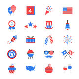 Icone piane di colore di festa dell'indipendenza Immagini Stock