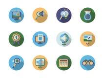 Icone piane di colore di ottimizzazione di ricerca Immagine Stock