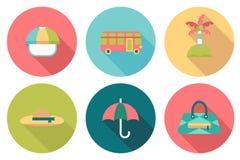 Icone piane di colore di viaggio rotondo Immagini Stock Libere da Diritti
