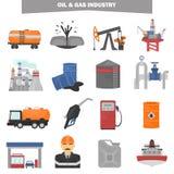Icone piane di colore di industria del GUS e dell'olio messe Immagini Stock Libere da Diritti