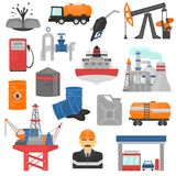 Icone piane di colore di industria del GUS e dell'olio messe Immagine Stock