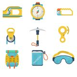 Icone piane di colore per l'attrezzatura di alpinismo Fotografia Stock