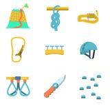 Icone piane di colore per l'attrezzatura rampicante Fotografie Stock Libere da Diritti