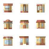 Icone piane di colore per la facciata di costruzione Fotografia Stock Libera da Diritti