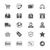 Icone piane di commercio elettronico Fotografie Stock